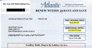 Atlantic Magazine Gift Renewal Form