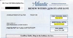 Atlantic Magazine Renewal Offer