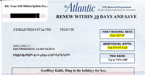 Atlantic Magazine Renewal Offer