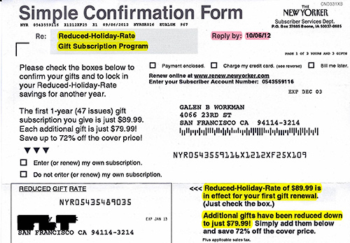 New Yorker Gift Renewal Form