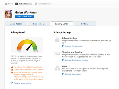 ESET Social Media Dashboard screen shot