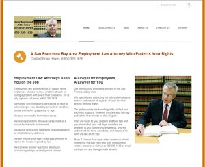Homepage of employment attorney Brian Hawes in 2014