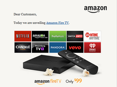 Announcement for Amazon fire TV