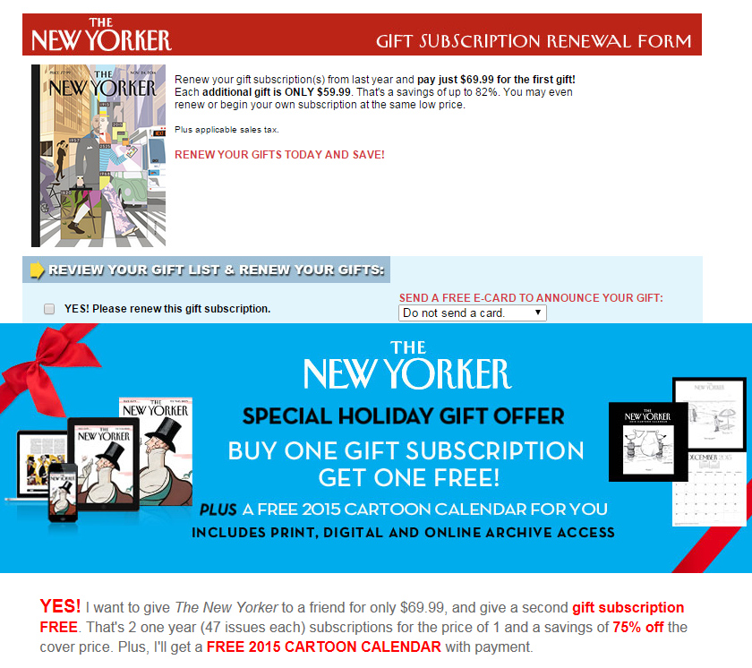 Screen prints of New Yorker web page prices